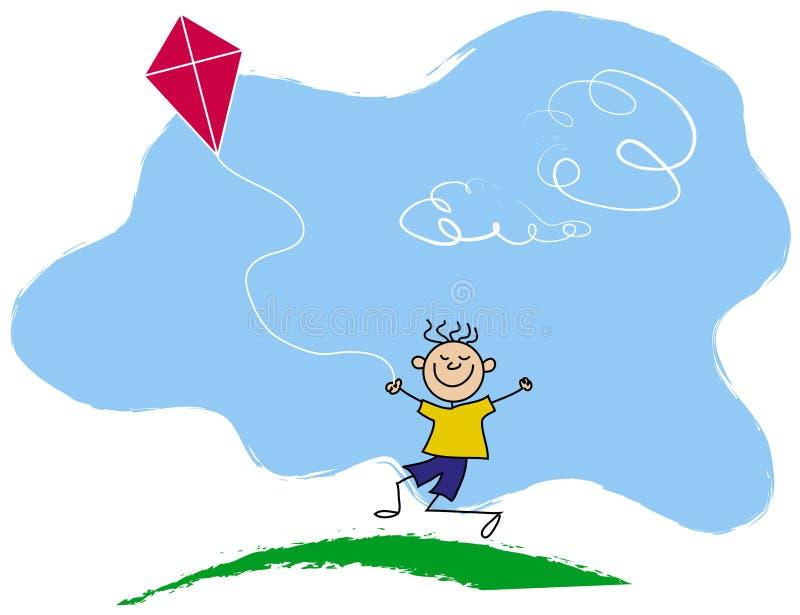 飞行愉快的风筝的男孩 向量例证