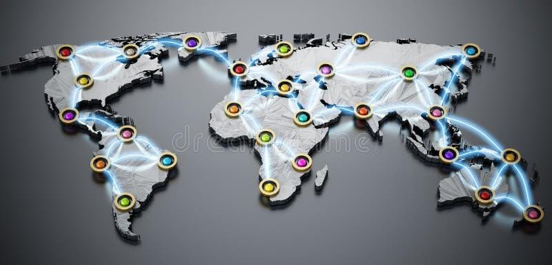 飞行或互联网在3D世界地图 3d例证 向量例证