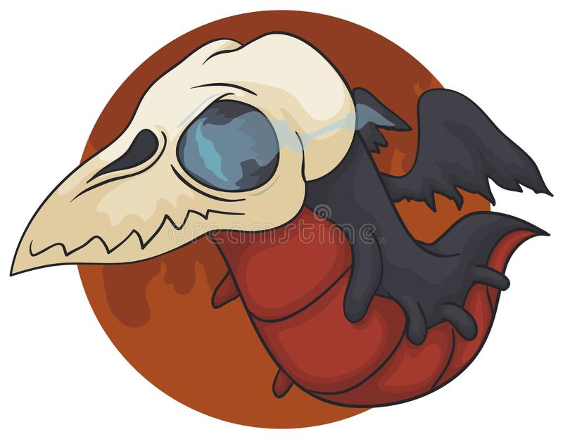 飞行戴着头骨面具,传染媒介例证的地狱的龙鬼魂 皇族释放例证