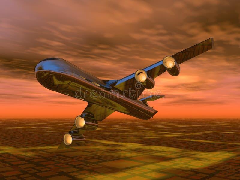 飞行日落 向量例证