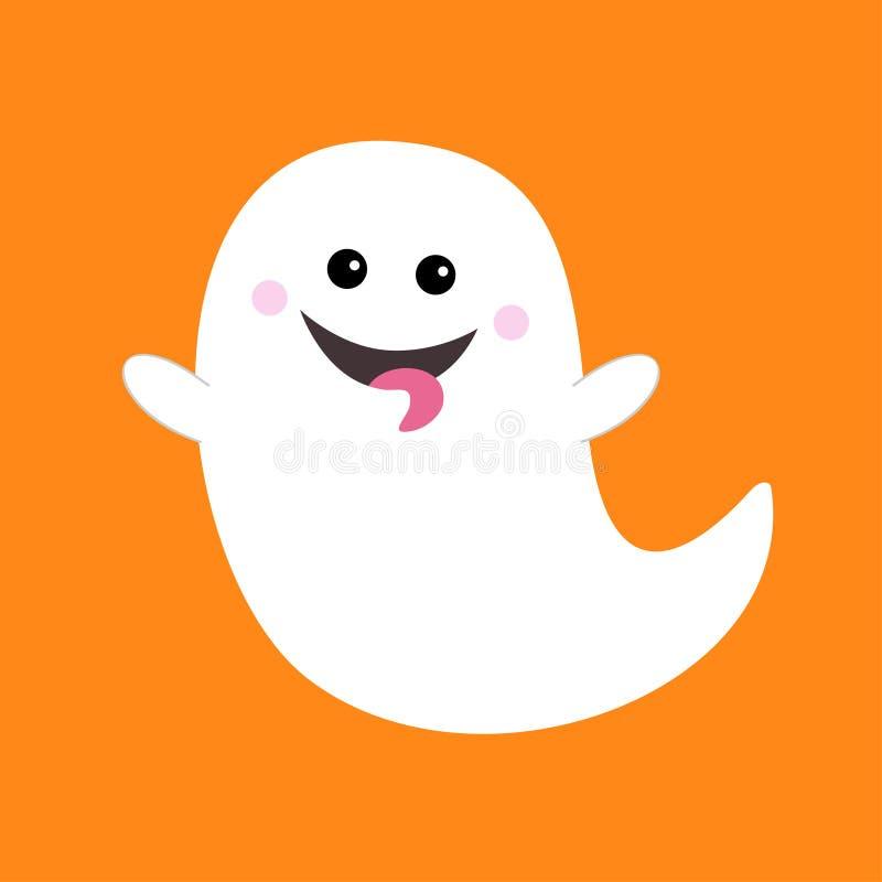 飞行显示舌头的鬼魂精神 笨蛋 愉快的万圣节 可怕白色鬼魂 逗人喜爱的动画片鬼的字符 微笑的面孔,手 库存例证