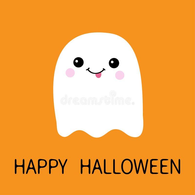 飞行显示舌头的鬼魂精神 笨蛋 愉快的万圣节 可怕白色鬼魂 逗人喜爱的动画片鬼的字符 微笑的面孔,面颊 皇族释放例证