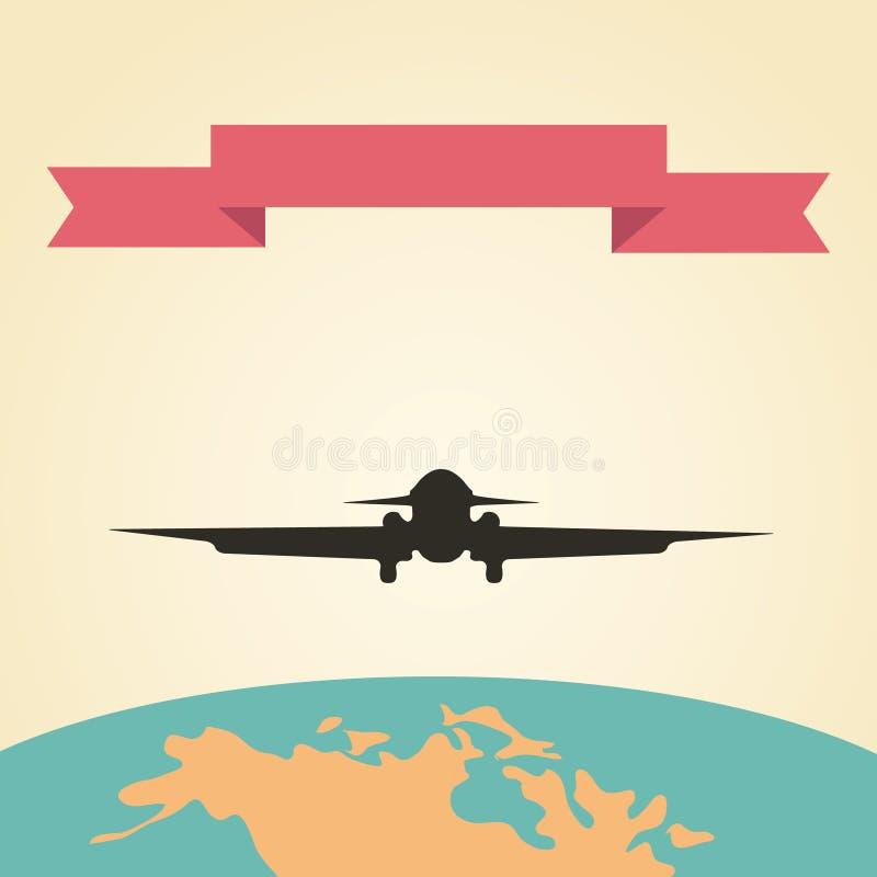 飞行有横幅的葡萄酒飞机 库存例证