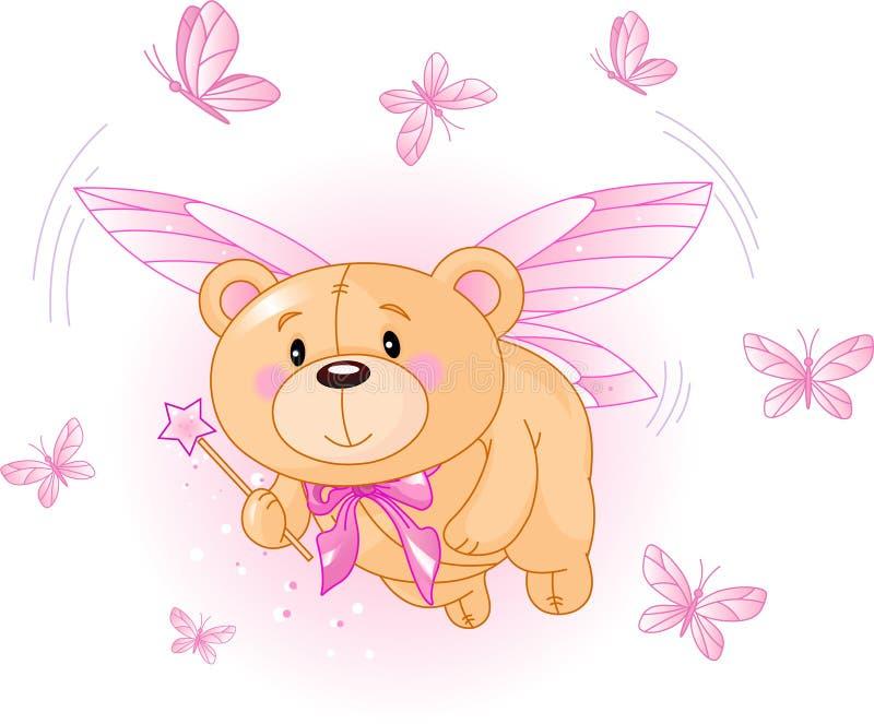 飞行桃红色女用连杉衬裤的熊 库存例证