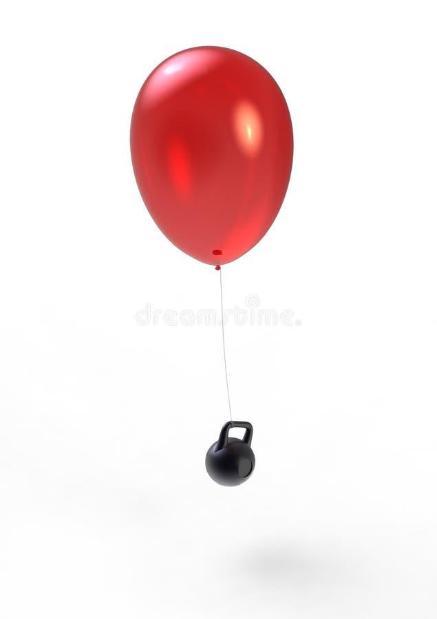 飞行气球和特别重的人 库存图片