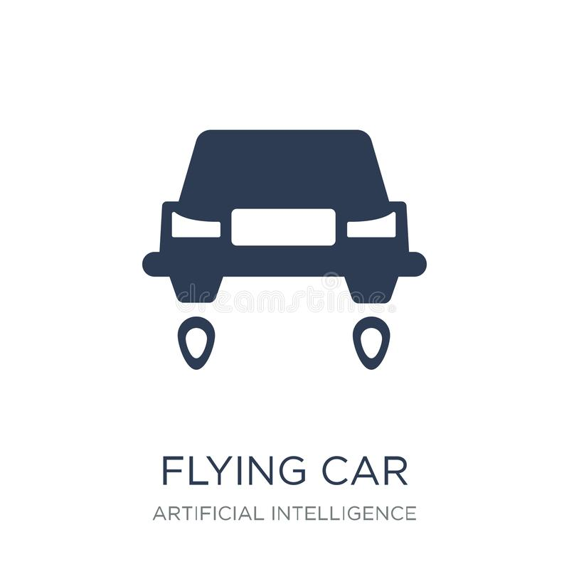 飞行汽车象 在白色bac的时髦平的传染媒介飞行汽车象 向量例证