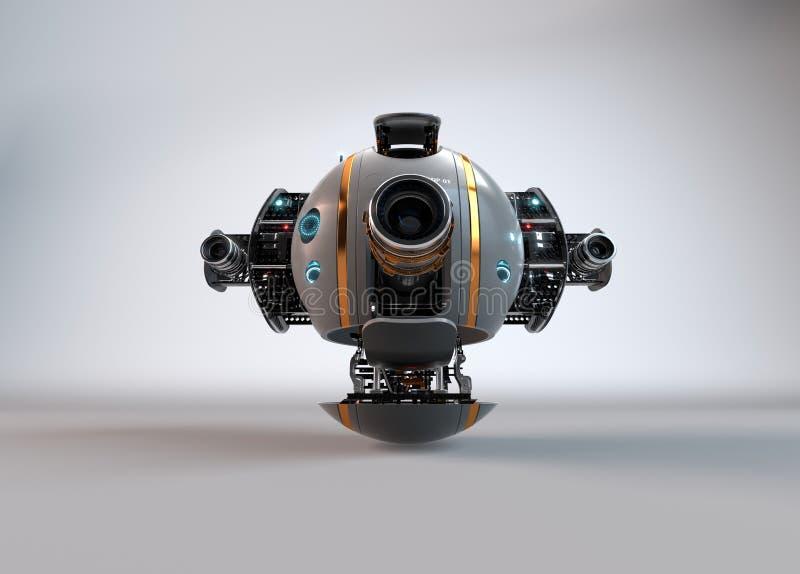 飞行照相机寄生虫 机器人 droid 库存例证