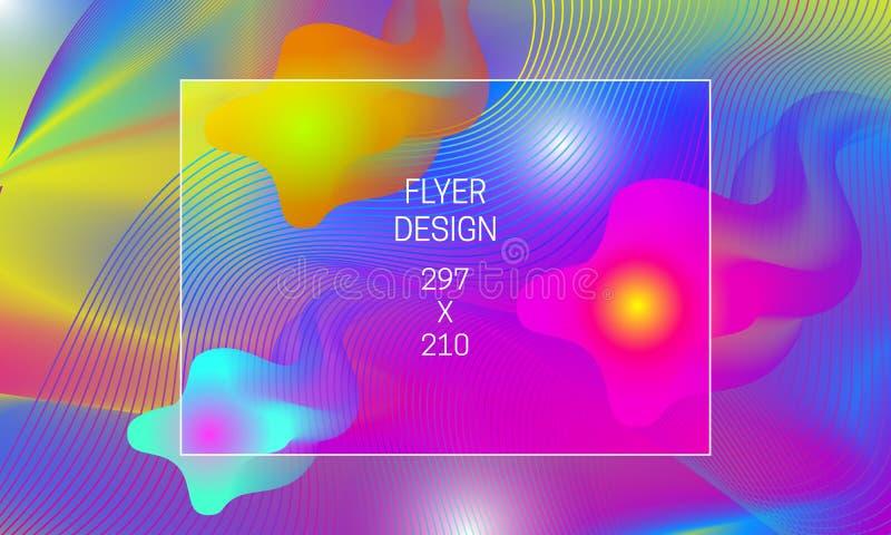 飞行物摘要背景一代的模板 导航与漂浮透亮形状和五颜六色的扭索状装饰的充满活力的背景 向量例证