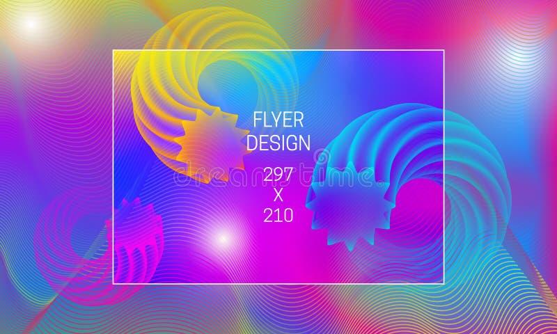 飞行物摘要背景一代的模板 导航与环型透亮形状和五颜六色的扭索状装饰的充满活力的背景 皇族释放例证