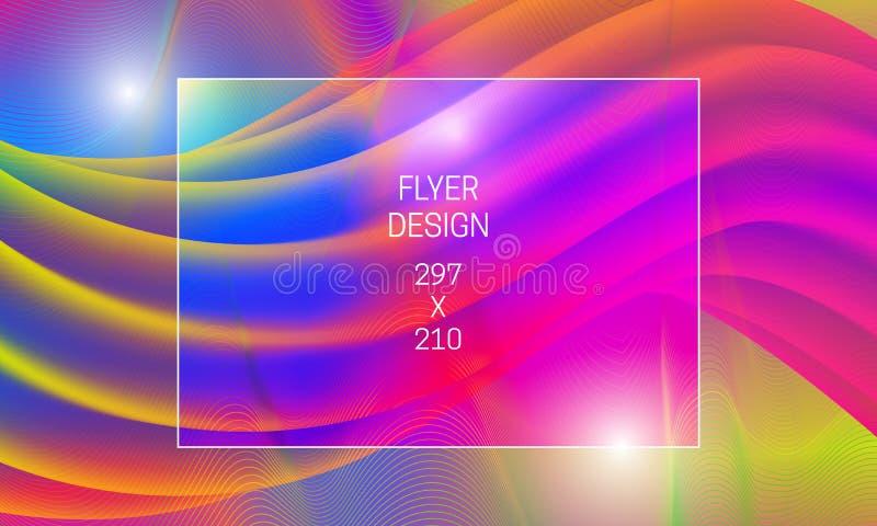 飞行物摘要背景的模板 导航与液体透亮形状和五颜六色的扭索状装饰元素的充满活力的背景 库存例证