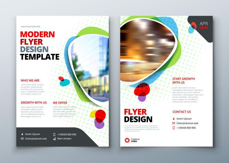 飞行物模板布局设计 企业在明亮的颜色的飞行物、小册子、杂志或者飞行物大模型 向量 库存例证