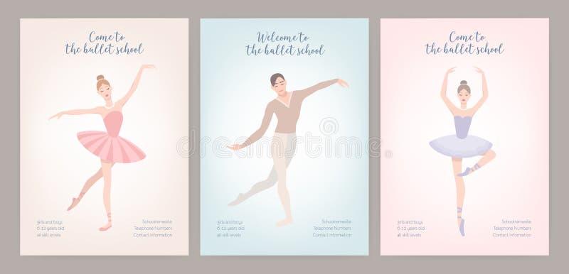 飞行物模板的汇集与优美穿戴的男性和女性跳芭蕾舞者的以各种各样的姿势 平的动画片 向量例证