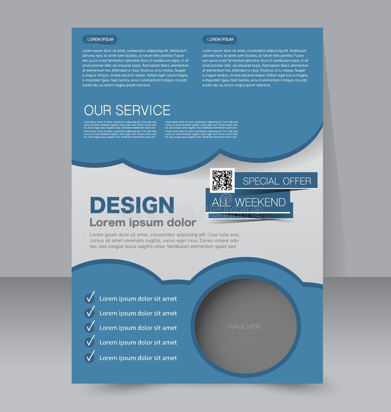 飞行物模板 企业小册子 设计的编辑可能的A4海报 库存例证