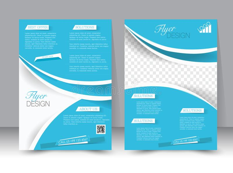 飞行物模板 企业小册子 设计的,教育,介绍,网站,杂志封面编辑可能的A4海报 库存例证