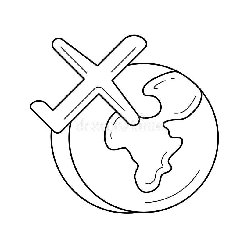 飞行环球传染媒介线象的飞机 库存例证