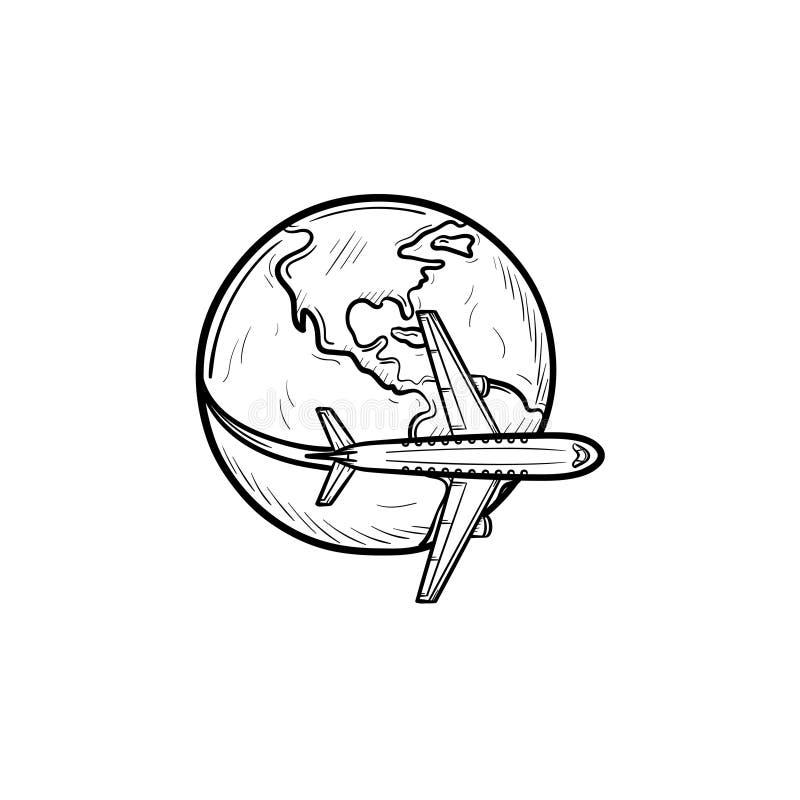 飞行环球手拉的概述乱画象的飞机 库存例证