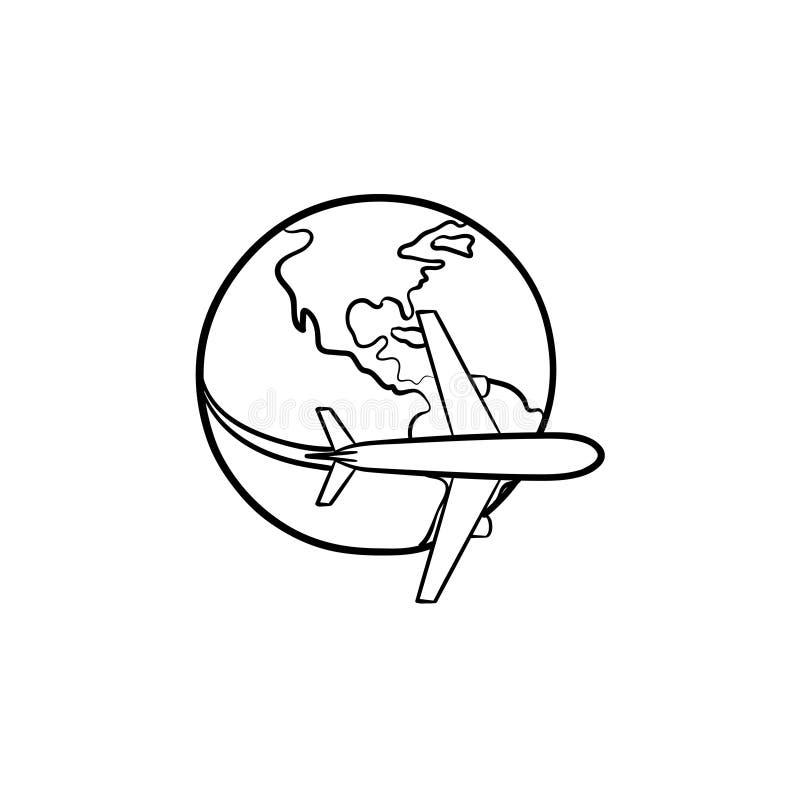 飞行环球手拉的概述乱画象的飞机 向量例证