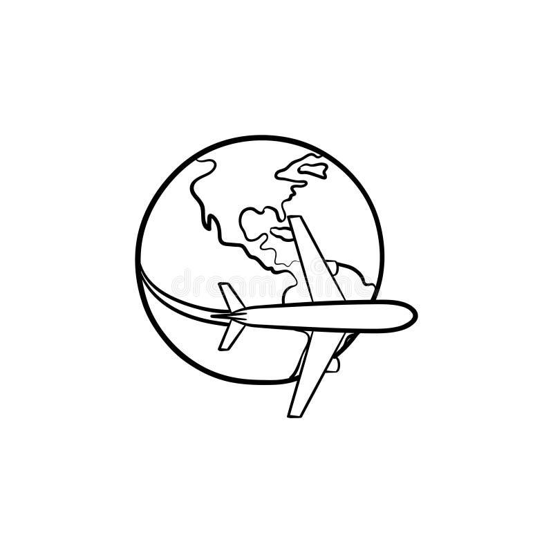 飞行环球手拉的象的飞机 库存例证