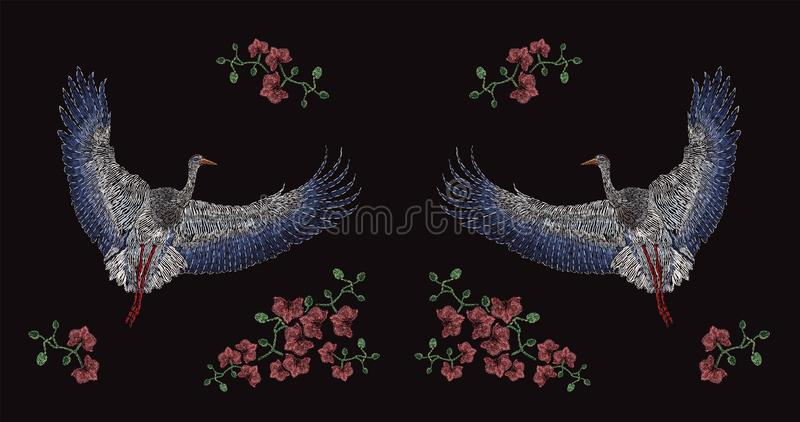 飞行的亚洲起重机和开花的花绣与在黑背景的五颜六色的螺纹 刺绣设计与 库存例证