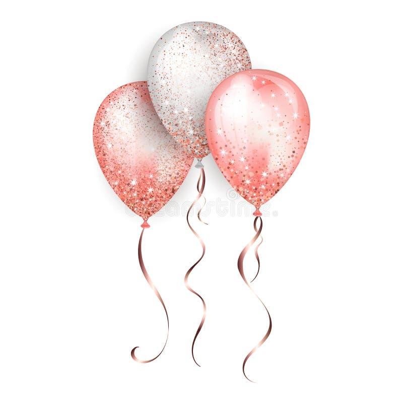 飞行的光滑的白色和桃红色发光的现实3D氦气气球有金子丝带和闪烁闪闪发光的,完善的装饰为 皇族释放例证