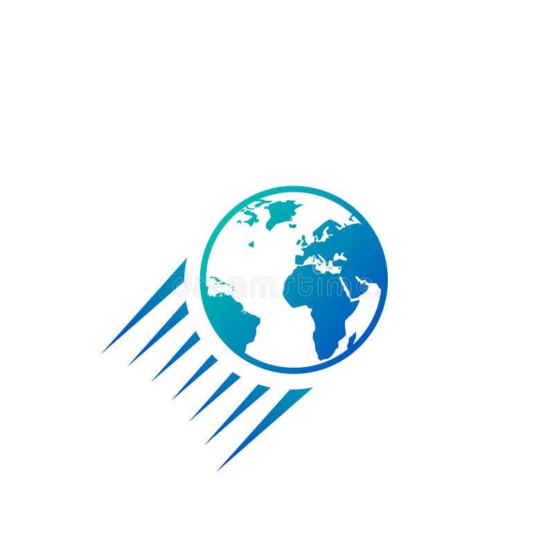 飞行的地球象商标,在白色背景隔绝的传染媒介例证 向量例证