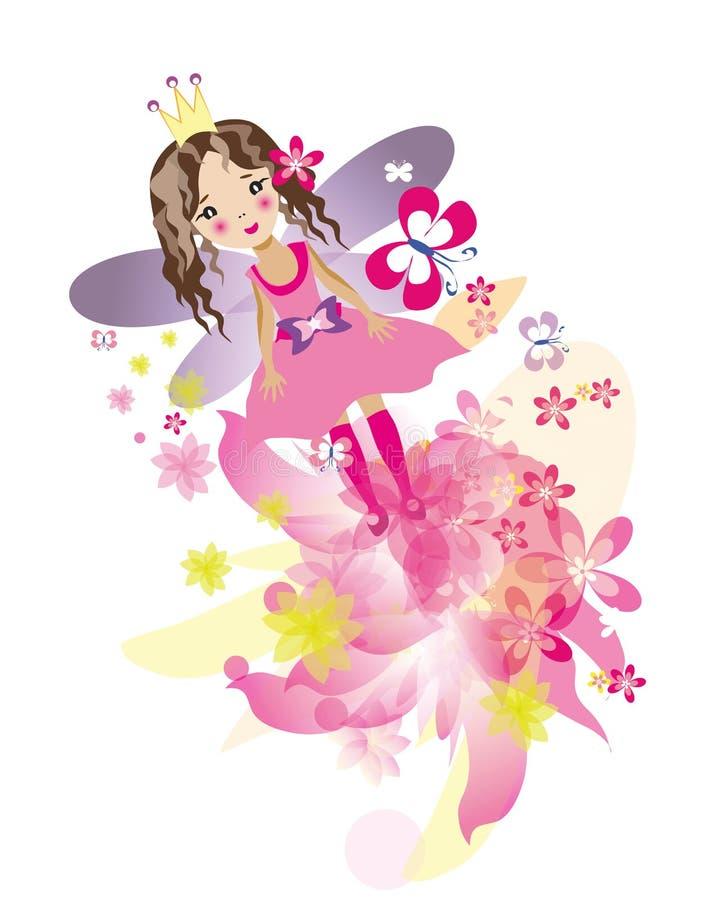 飞行的小神仙的女孩 向量例证