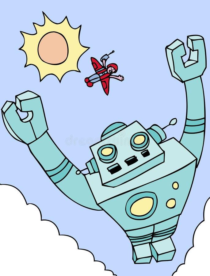 飞行的巨型机器人 库存例证