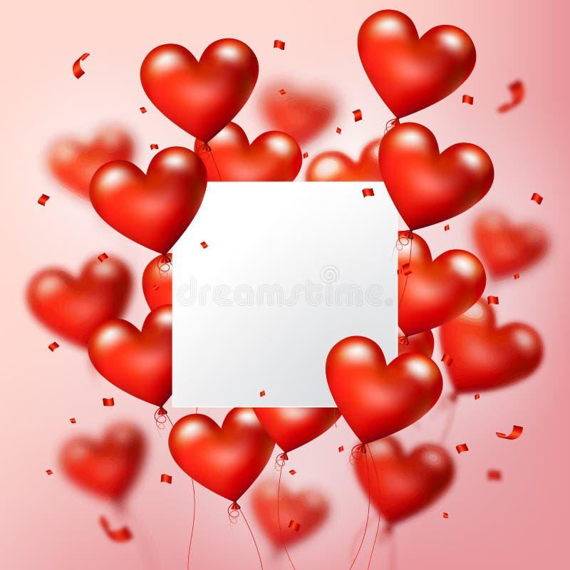 飞行的现实红色心脏迅速增加与方形的白色空白,并且五彩纸屑微粒,导航例证 向量例证