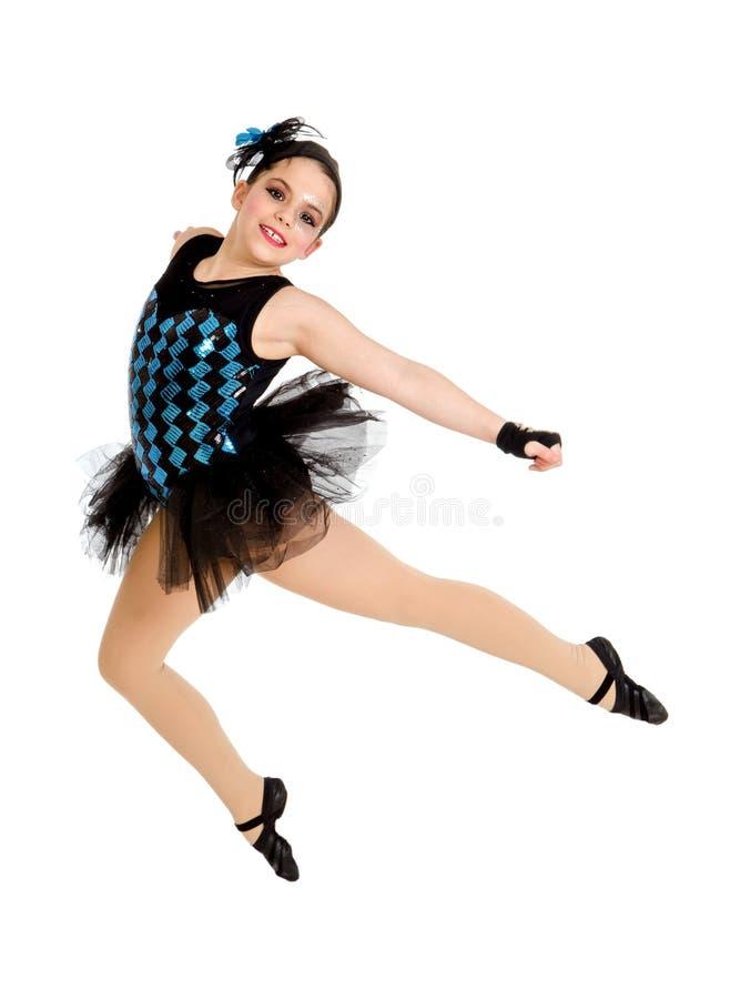 飞行的现代跳芭蕾舞者孩子 免版税库存图片