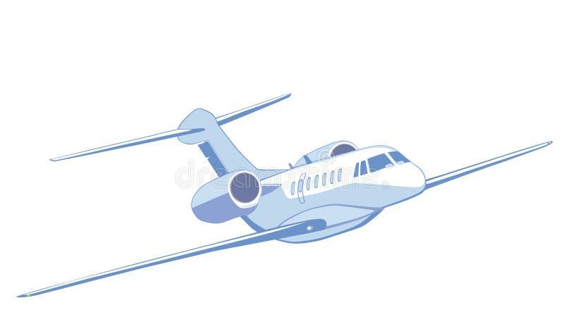 飞行的私人喷气式飞机 查出在白色 正面图 库存例证