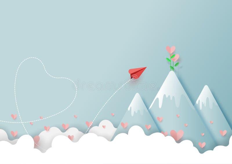 02 飞行的纸飞机爱植物在山顶部 库存例证
