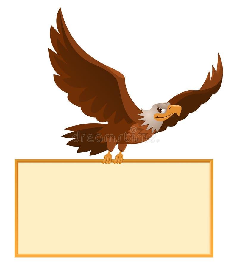 飞行的美国老鹰拿着空白的横幅 皇族释放例证