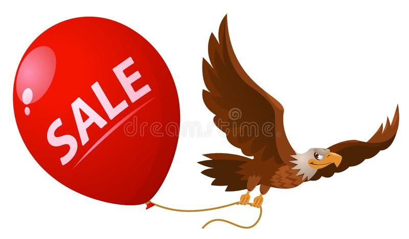 飞行的老鹰拿着销售气球 免版税库存图片