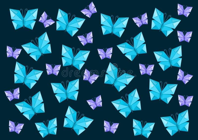 飞行的许多蝴蝶origami 向量例证