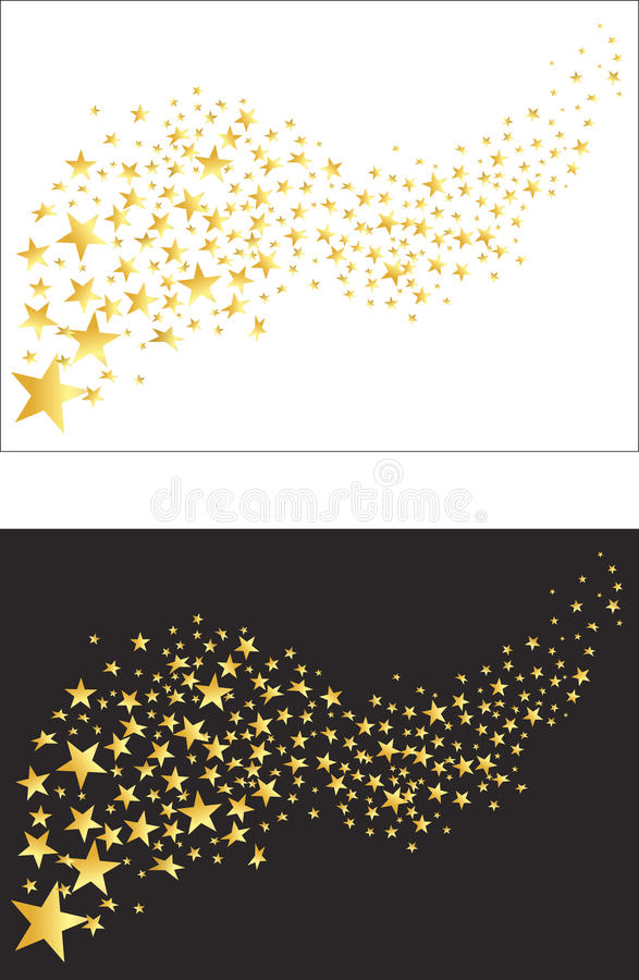 飞行的金黄星 向量 免版税图库摄影