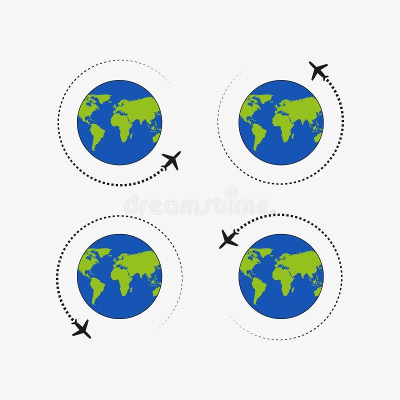 飞行的飞机 道路飞机 飞行环球 ?? 向量例证