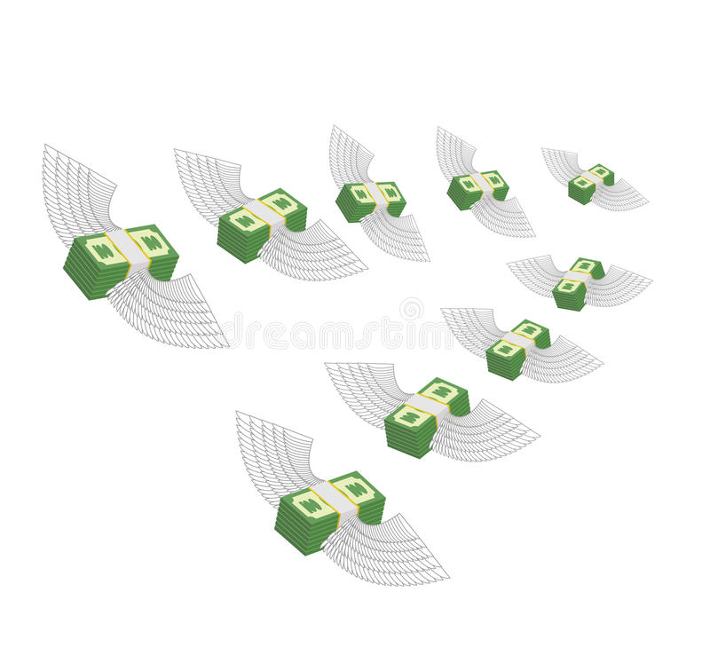 飞行的飞过的金钱 赢利减退 现金损失 传染媒介illu 皇族释放例证