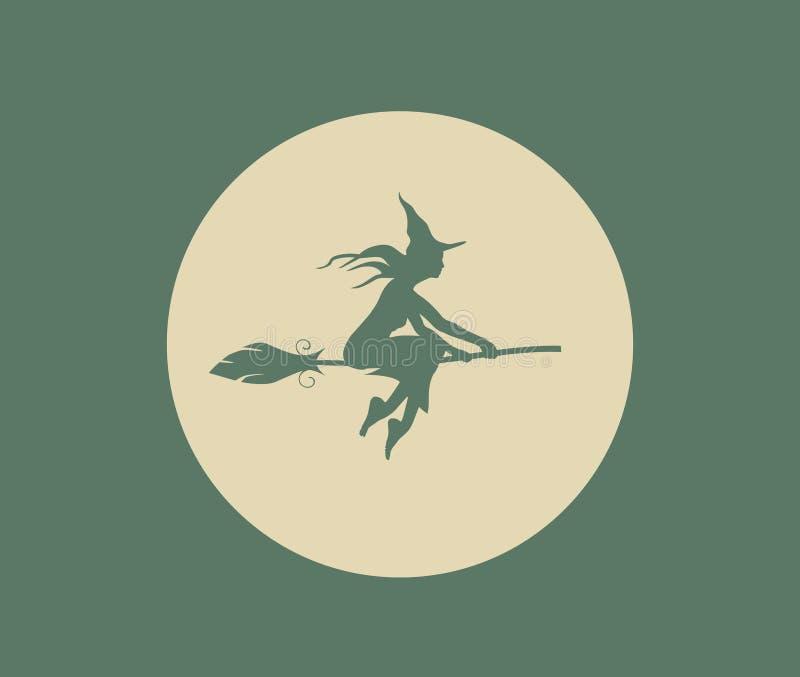 飞行的年轻巫婆象 在帚柄的巫婆剪影 向量例证