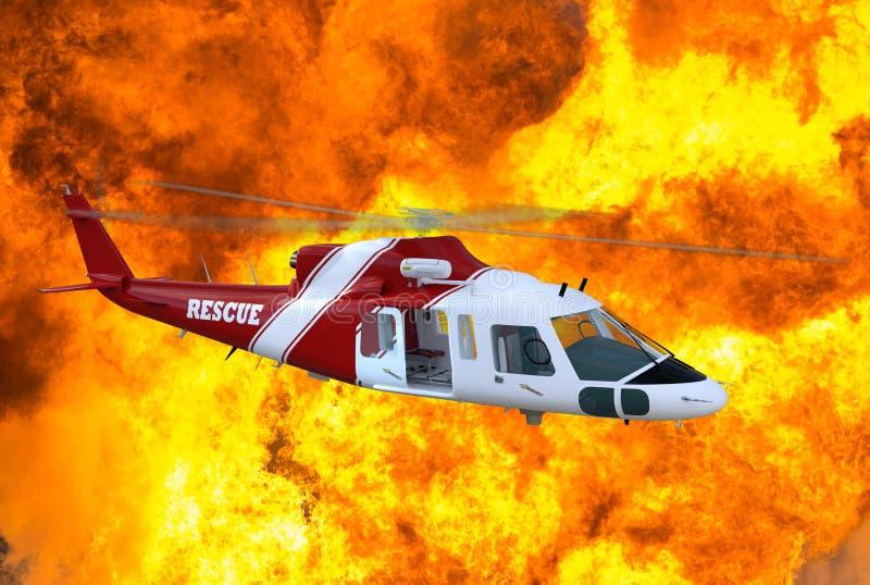 飞行的医疗抢救直升机例证 向量例证