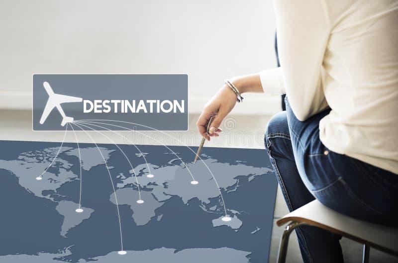 飞行票售票目的地旅途概念 库存图片