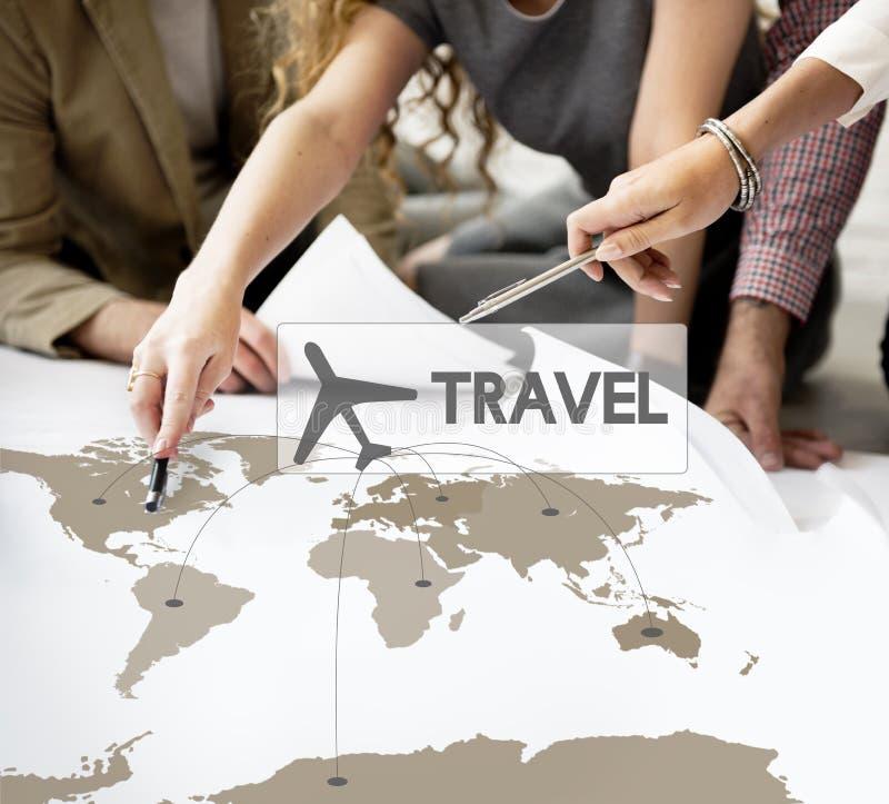 飞行票售票目的地旅途概念 免版税库存照片