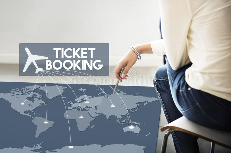 飞行票售票目的地旅途概念 免版税图库摄影