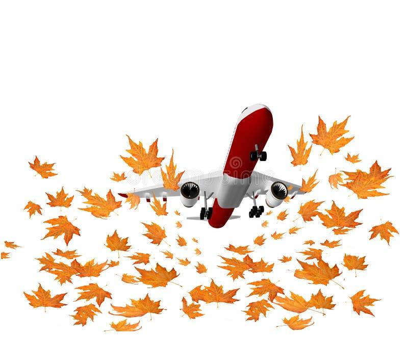 飞行秋天背景飞机叶子 向量例证