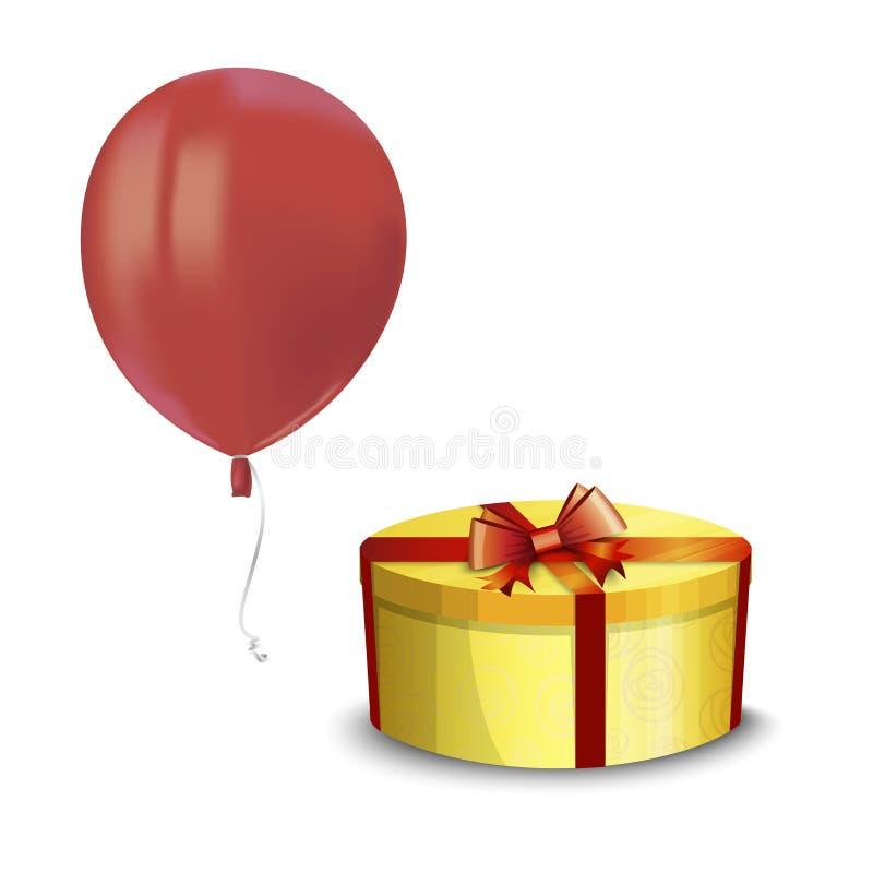 飞行红色气球与的现实空气反射和在白色背景隔绝的黄色礼物盒 任何hol的欢乐装饰元素 皇族释放例证