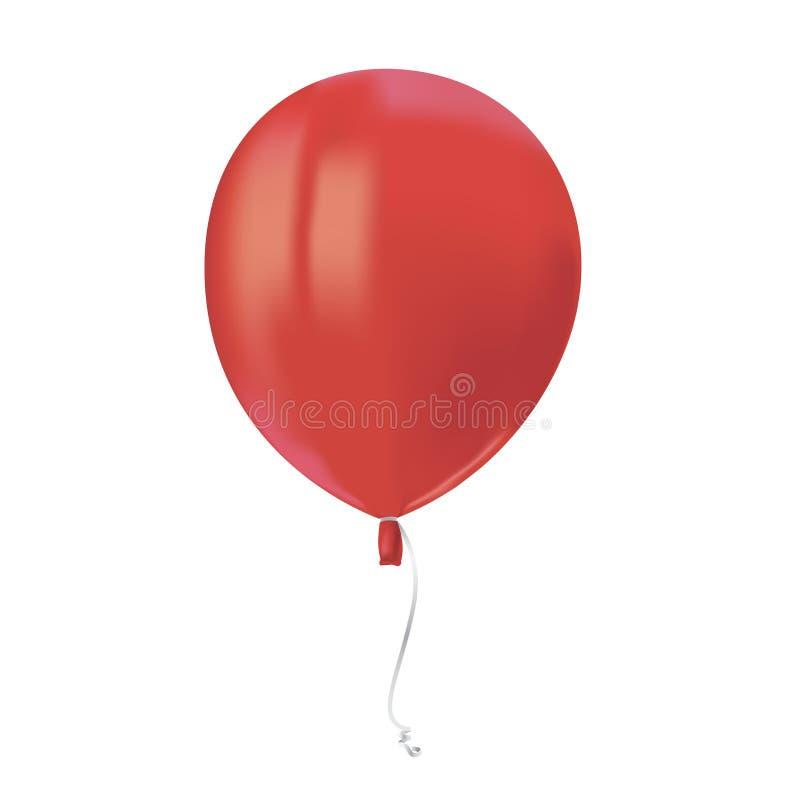 飞行红色气球与的现实空气在白色背景反射隔绝 欢乐装饰元素为任何假日 传染媒介illustr 向量例证