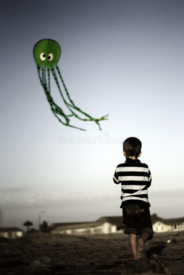 飞行绿色风筝的子项 库存照片