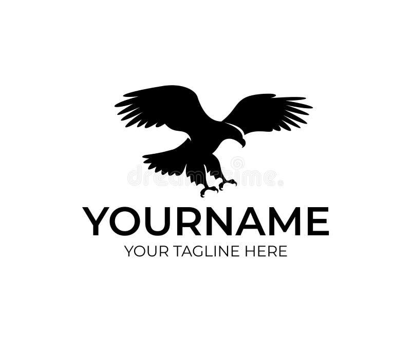 飞行老鹰、鸟和动物,商标设计 野生生物,自然和狂放,传染媒介设计 皇族释放例证
