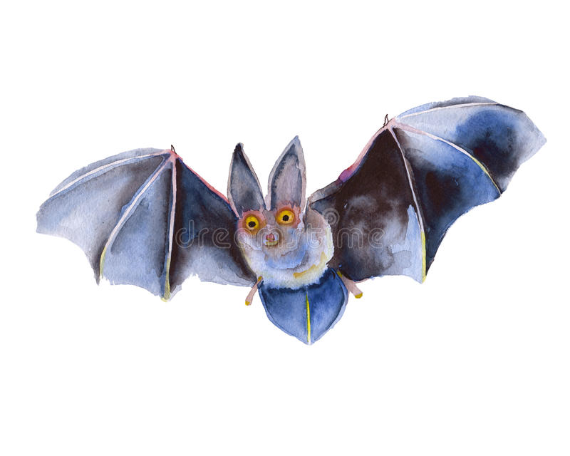 飞行老鼠万圣夜 查出 额嘴装饰飞行例证图象其纸部分燕子水彩 皇族释放例证