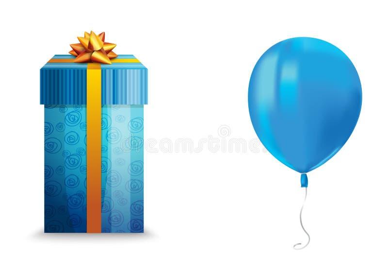 飞行蓝色气球与的现实空气反射和在白色背景隔绝的礼物盒 欢乐装饰元素为任何假日 皇族释放例证
