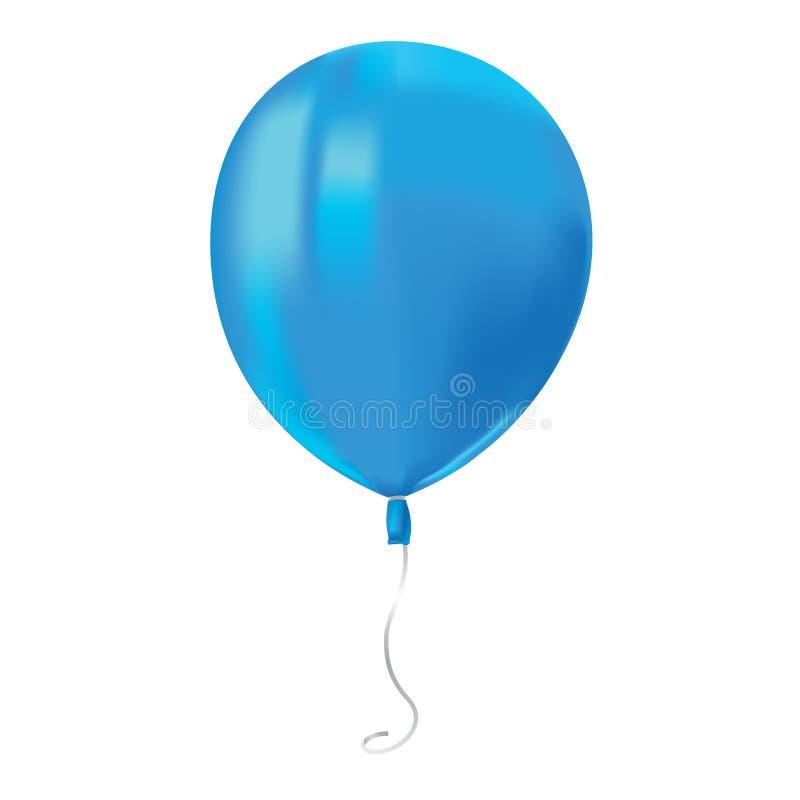 飞行蓝色气球与的现实空气在白色背景反射隔绝 欢乐装饰元素为任何假日 传染媒介Illust 库存例证